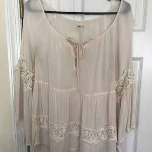 Hollister sheer cream colored top!